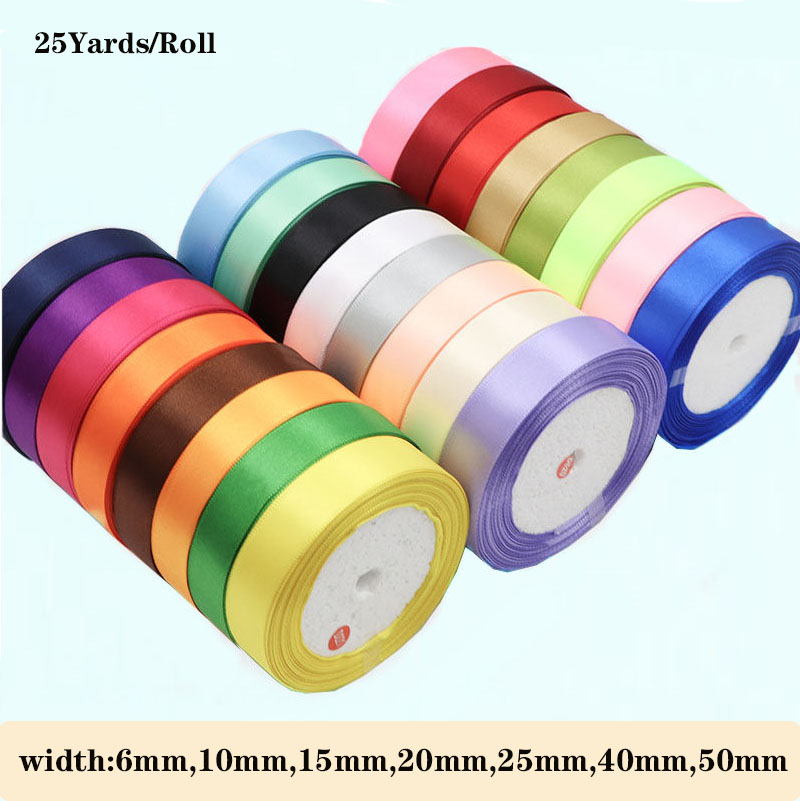1 to 22 meters SATIN RIBBONS 6mm 10mm 15mm 20mm 25mm 40mm WIDTHS 16 COLOURS