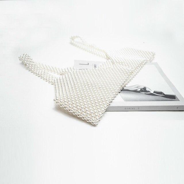 [BXX] Handmade Pearls Vest Women Tops 2021 Luxury Brand Designer New For Women Beading Vests Sleeveless Hollow Out Shirts HI451 5