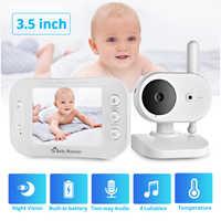 FUERS Portable LCD couleur sans fil vidéo et Audio bébé moniteur Vision nocturne caméra musique bidirectionnelle Radio détection de température