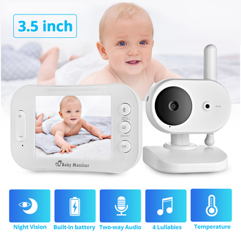 FUERS 3.5 Inch Portable LCD Color Wireless Video and Audio Baby Monitor Night Vision Camera Two Way Radio Temperature Detection