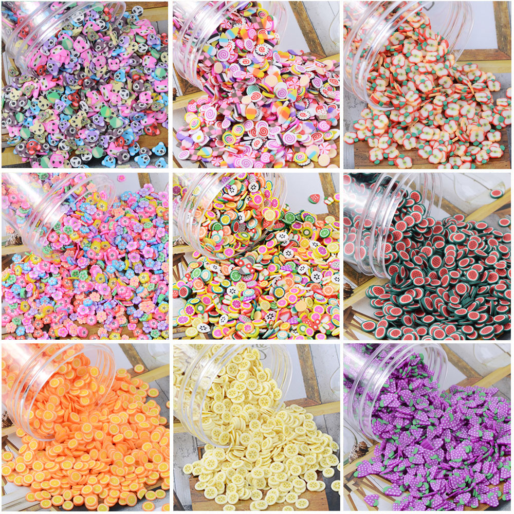 200pcs/bag Soft Pottery Addition Soft Fimo Fruit Slices For Slime Fluffy Lizun DIY Mobile Supplies Slime Accessories Children