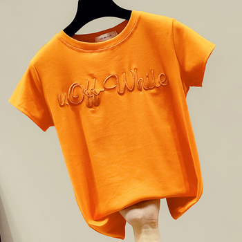 shintimes 2020 Summer Short Sleeve T Shirt Women Fashion Embroidered Letters Print T-Shirt Casual O-Neck Loose Tee Shirt Femme embroidered striped sleeve tee