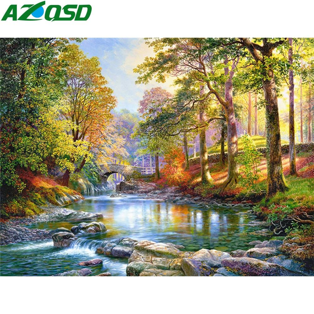 Алмазная живопись AZQSD, лес, полная квадратная/круглая алмазная живопись, стразы 5d Diy, ландшафтный подарок, домашний декор
