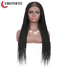 Youthfee Synthetic Lace Frontal Wigs with Baby Hair Middle Part Cornrow Braided Wig for Black Women Box Braids Lace Front Wigs