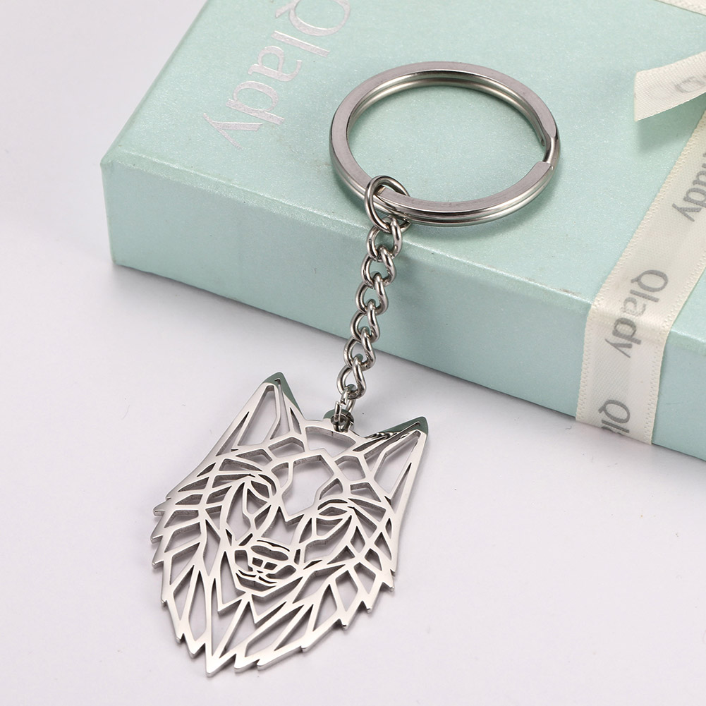 My Shape Key Ring Wolf Animal Stainless Steel Jewelry Keyring Forest Animal Keychain Cut Out Hollow Keyholder Pendant GIft Men