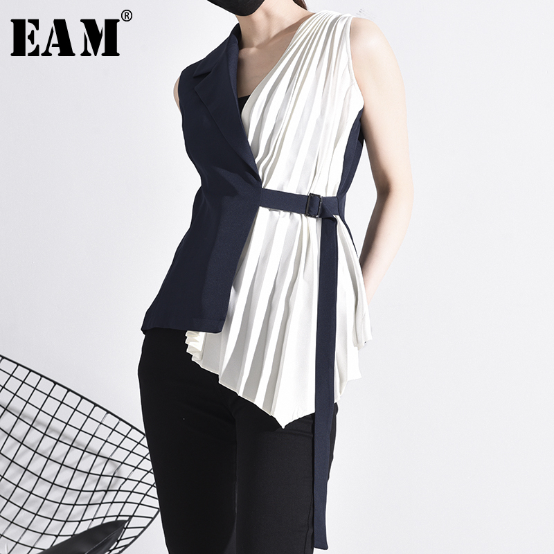 [EAM] Women Contrast Color Pleated Bandage Loose Fit Vest New V-collar Sleeveless   Fashion Tide Spring Autumn 2020 YC31105