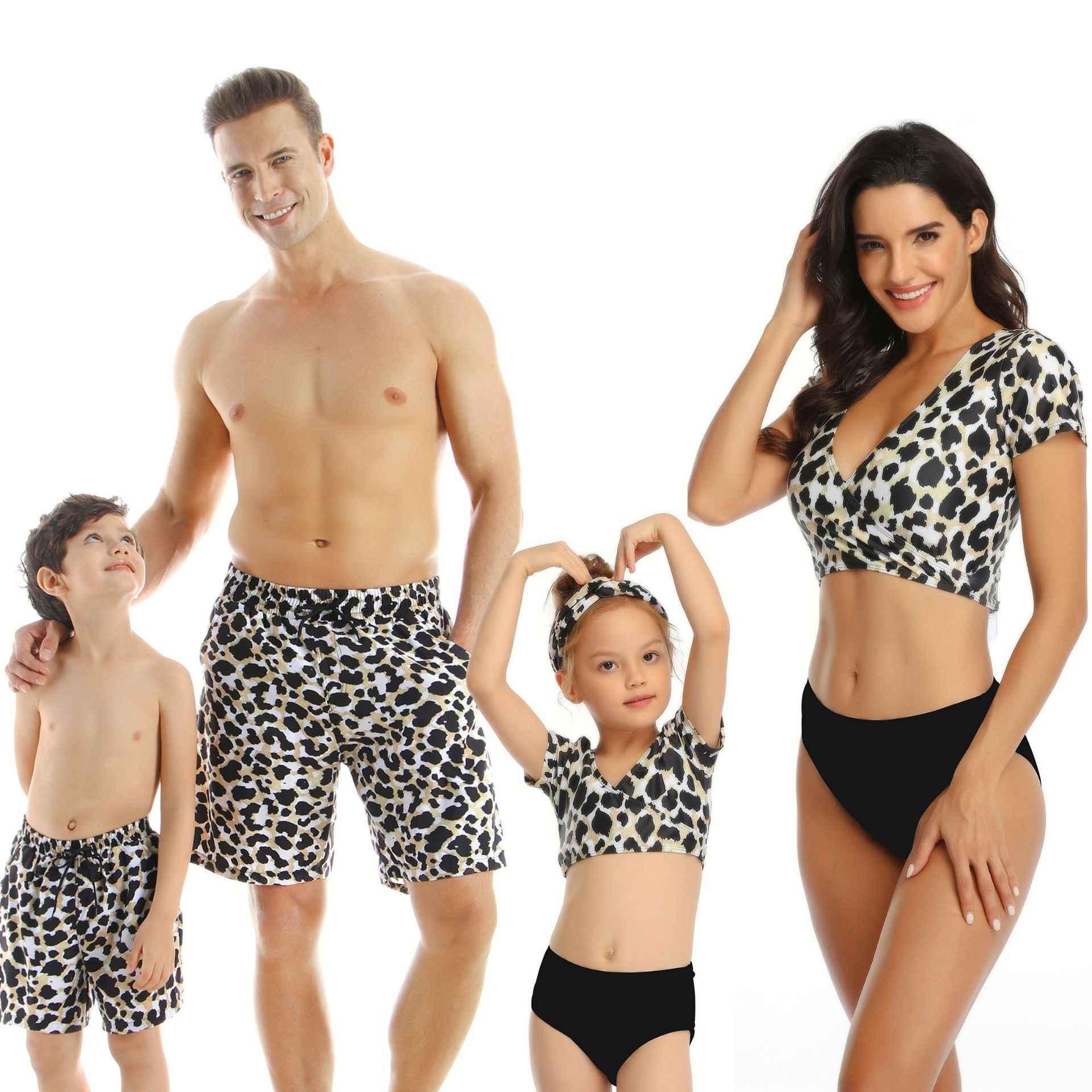 Familie Bijpassende Badmode Moeder Dochter Taseel Blad Blauwe Bikini Papa Zoon Badpak Vrouwen Mannen Koppels Outfits Meisjes Jongens Badpak