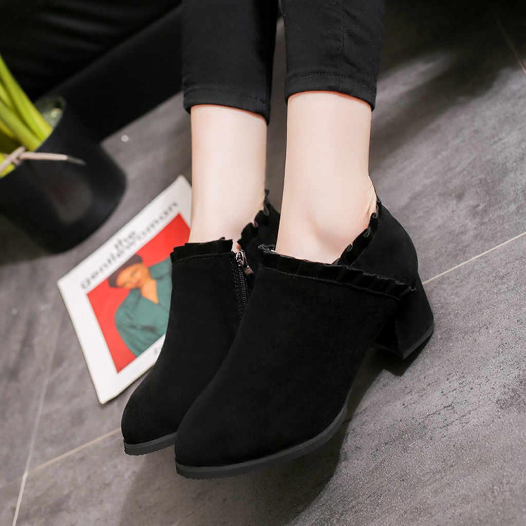 Rebanho Ankle Boots do vintage para As Mulheres 2019 Outono Inverno Ladies Casual Sólidos Dedo Do Pé Redondo Martin Botas Curtas Mulheres botas mujer
