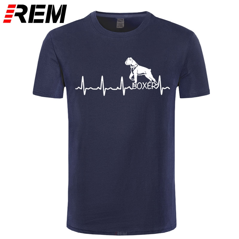 Heartbeat Boxer Dog T-Shirts For Men Funny Tees For Dog Lover Short Sleeve Leisure Crewneck 100% Cotton Tops Printed T Shirt
