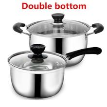 Кастрюля из нержавеющей стали с двойным дном, кастрюля для супа, немагнитная, многоцелевая кухонная посуда, антипригарная сковорода, индукционная плита, б/у кастрюля