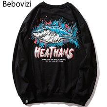 Bebovizi Hip Hop Anime Shark Sweatshirt Men Black Hoodie 2019 Harajuku Casual Couple Streetwear Top