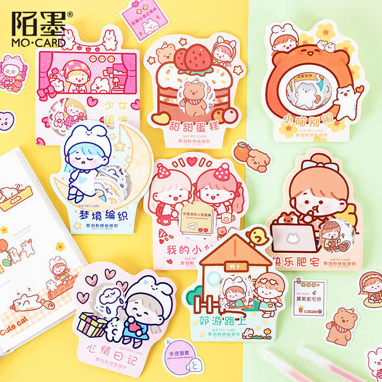 40pcs/pack Rabbit Group Stationery Stickers Sealing Label Travel Sticker Scrapbooking Diary Planner Albums Decorations Diy