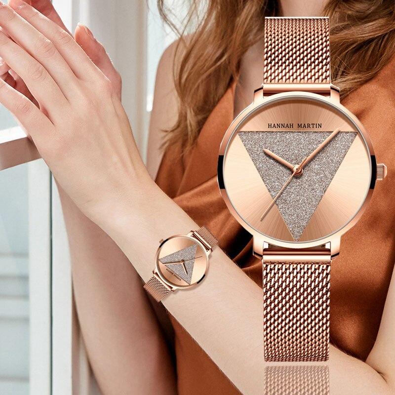 럭셔리 브랜드 여성 시계 쿼츠 로즈 골드 삼각형 장식 숙녀 손목 시계 크리 에이 티브 우아한 방수 relogio feminino