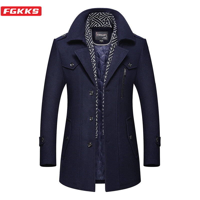 FGKKS Winter Men Wool Blend Coat Quality Brand Men's Comfortable Warm Thick Overcoat Long Section Wool Coats Male (With Scarf)