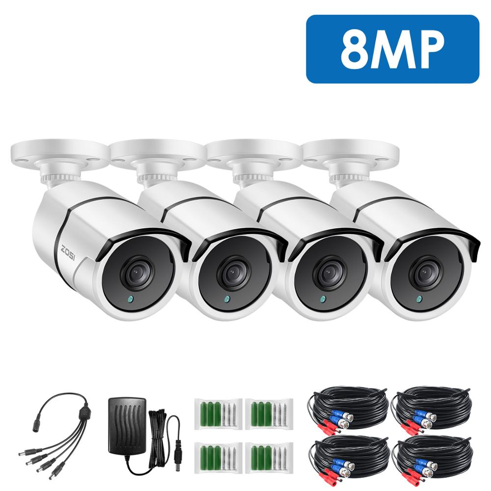 ZOSI 4pcs/lot 4K Extreme HD Security Camera-8.0MP Waterproof TVI Bullet CCTV Camera For Surveillance System Home Office Using