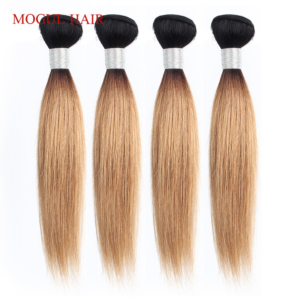 MOGUL HAIR 4/6 Bundles 50g/pc 1B 27 Ombre Honey Blonde Brazilian Straight Remy Human Hair 613 Natual Color Short Bob Style