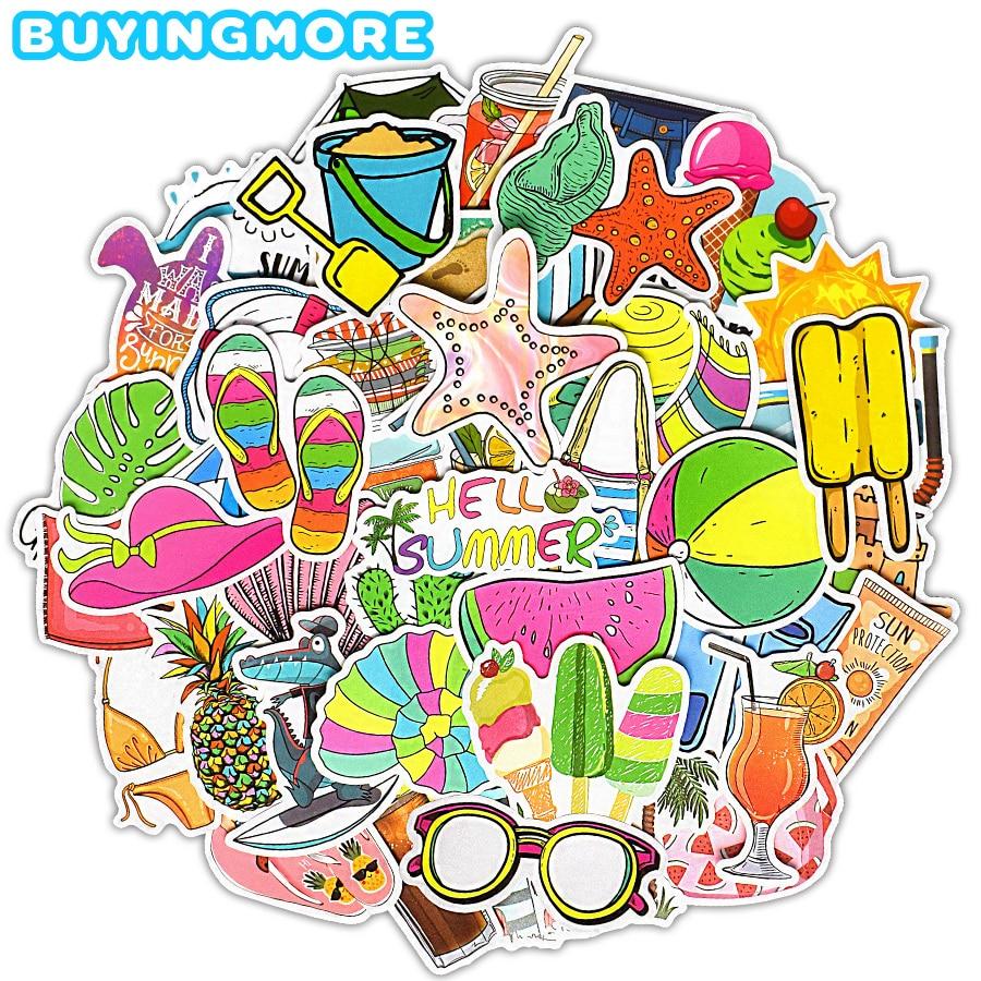 50 PCS Cool Summer Vsco Sticker Travel Sunlight Beach Hawaii Cute Anime Stickers Laptop Suitcase Guitar Car Waterproof Stickers