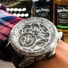 Montre bracelet mécanique pour hommes, accessoire classique sculpté avec grand cadran, mouvement Tourbillon, à la mode, 50m, motif Tourbillon, AOHAOHUA