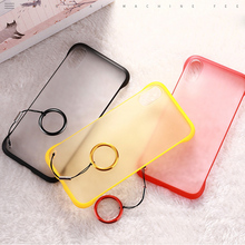10PCS Frameless Borderless Phone Case Back Cover For Iphone xs max xr x One Plus 7 Samsung PC Frosted With Finger Ring Lanyard