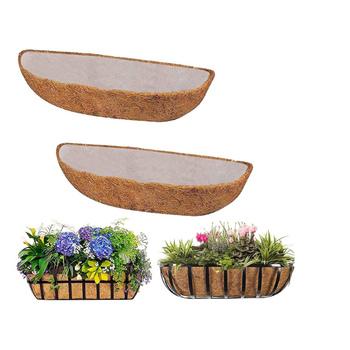 Gorący kosz na kwiaty kokosowa mata z włókna szklanego w kształcie półksiężyca o dużej pojemności wymienna wkładka na balkon dziedziniec ogród tanie i dobre opinie CN (pochodzenie)