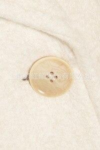 Image 5 - Beyaz Katı Uzun Yün Karışımı Bayan Ceket Vintage kadın ceketi Geniş waisted Kruvaze Kore Bayan Moda Ceket