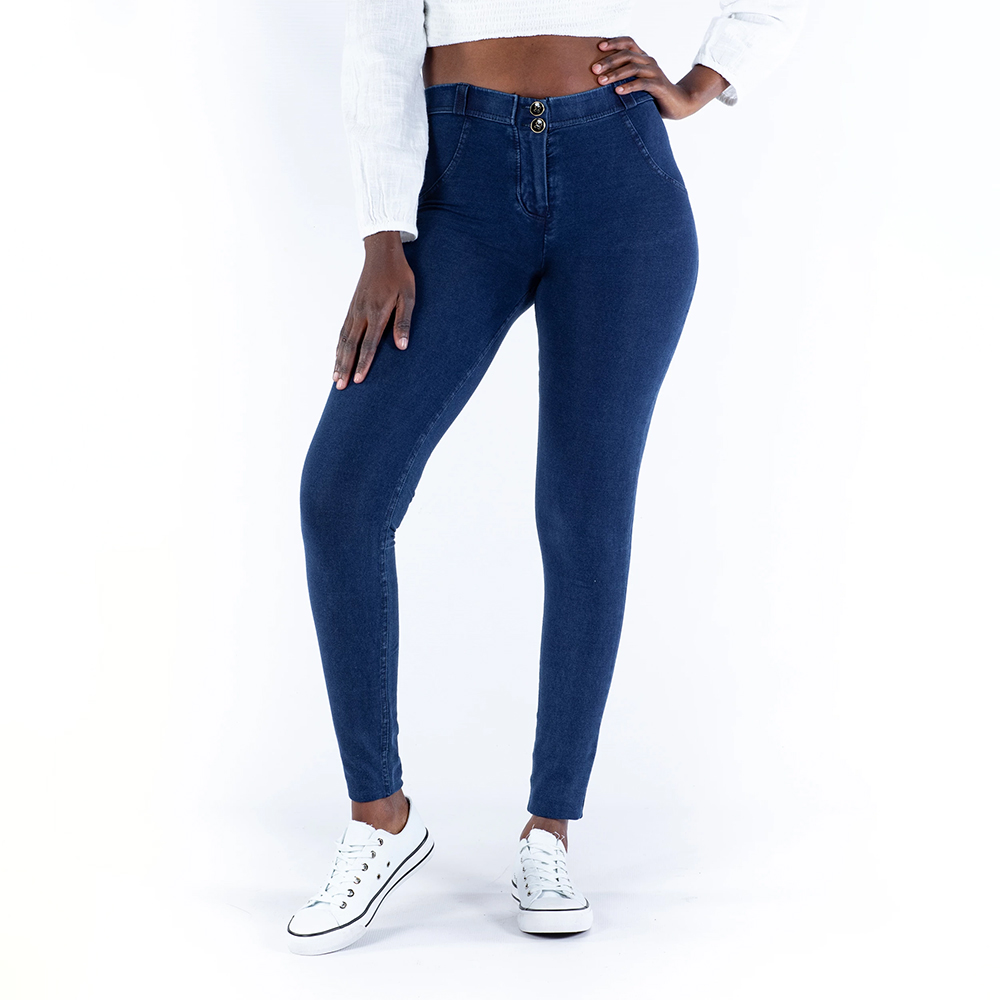 Melody Four Ways Stretchable Mid Waist Dark Blue Butt Lifting Denim Jeggings For Women Push Up Jeans Woman Super Comfortable