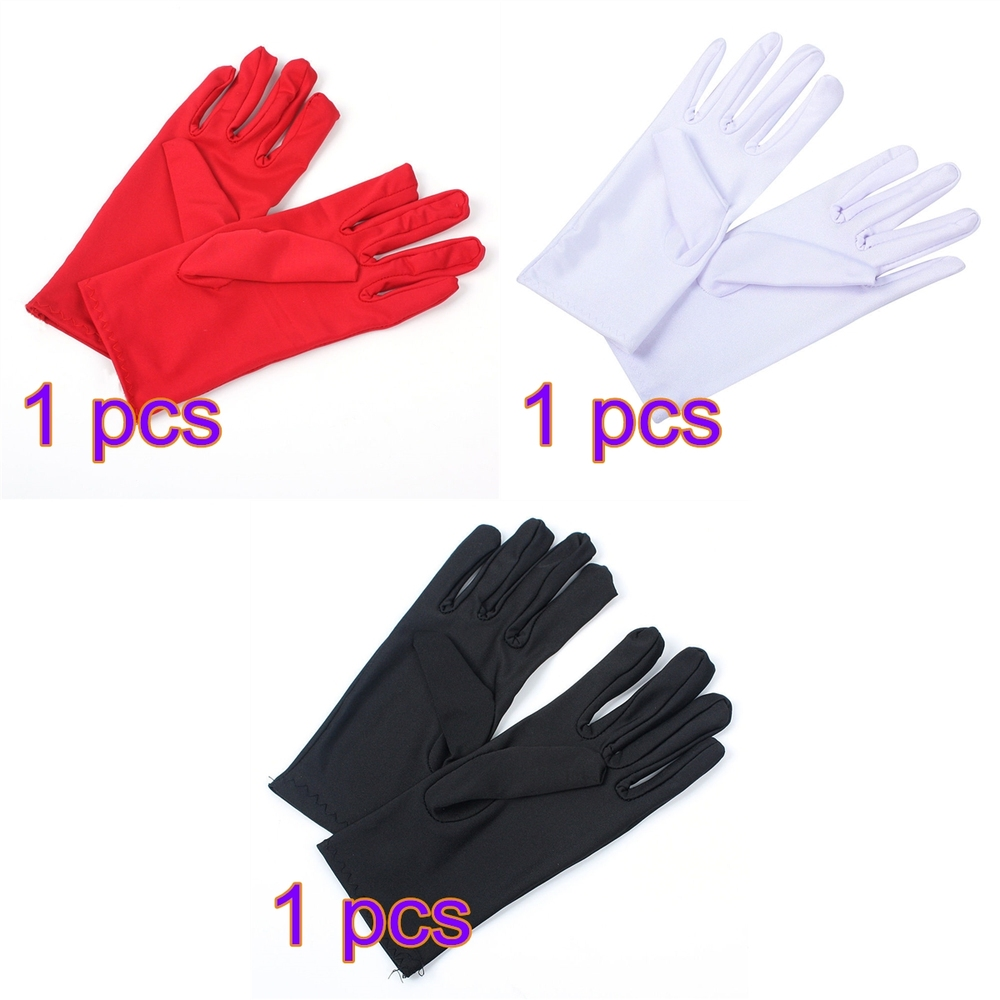 1 Pair Of Gloves New Womens Ladies Bride Wedding Wrist Short Gloves Party Driving Stretch Satin Solid Colors In Wedding