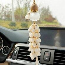 Araba kabak kolye ahşap cam araç parfüm şişesi boncuklu iç dekorasyon dekorasyon şeftali ahşap ekleme araba asılı