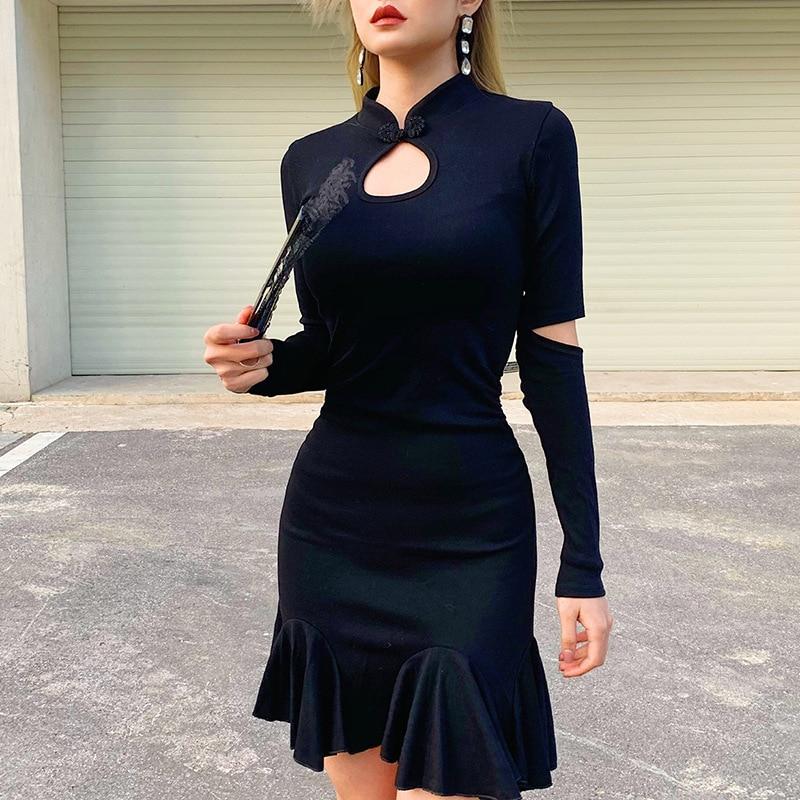 Goth Dark Black Gothic Female Dresses Hollow Out Longsleeve Ruffle Grunge Punk Women's Dress Harjauku Button Pleated Autumn 2019 1