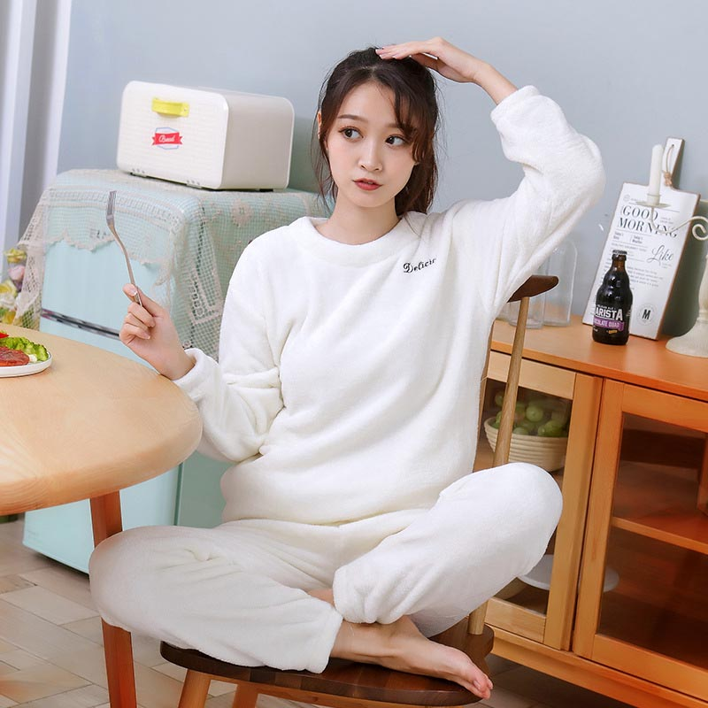 Warm Winter Women Pajamas Solid 2 Pcs Casual Loose Sleepwear Long Sleeves And Pants Flannel Pajamas Set Home Clothes Nightwear