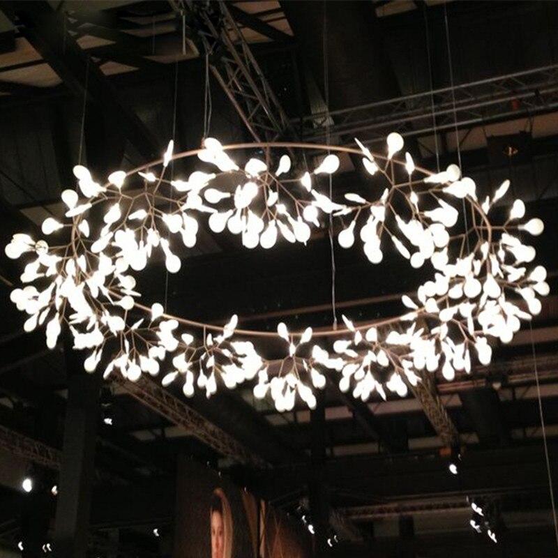 Big Round Modern LED Lamp Firefly Tree Branch Leaf Pendant Light Flower Suspension Lamps Restaurant Art Bar Home Lighting