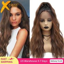 Perucas sintéticas da parte dianteira do laço ombre marrom cor preta onda natural longa parte livre peruca de cabelo para preto feminino resistente ao calor X-TRESS