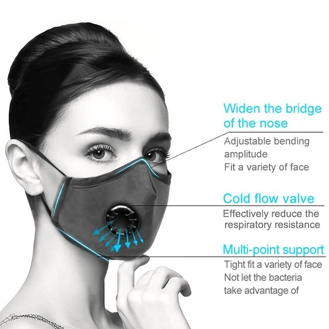 Mouth Mask With filter Anti Pollution PM2.5 Dust Respirator Washable Reusable Masks Cotton Unisex Mouth protective mask 5