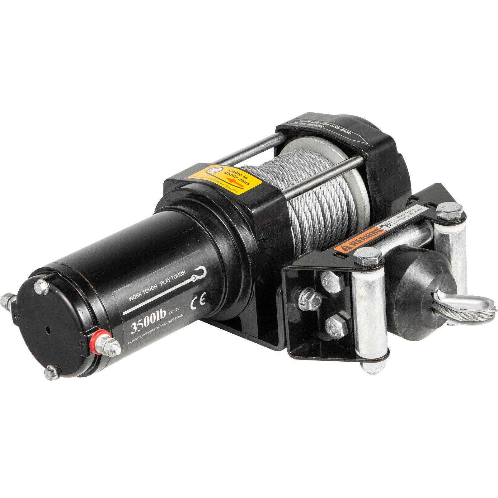 12v kabestan elektryczny ATV odzyskiwanie wciągarki 3500LBS lina stalowa wtyczka europejska z pilotem do ATV UTV
