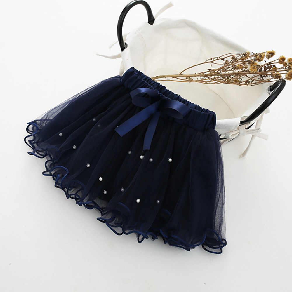 Falda tutú de perlas de malla para niños pequeños de WeLaken para niñas minifalda de fiesta de princesa Linda perla de arco para niñas nuevo bebé de verano ropa de niña