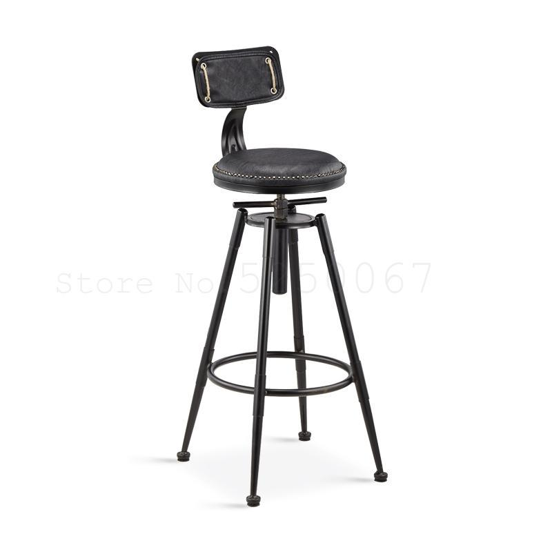 Iron Bar Stool American Bar Stool Coffee Chair High Stool Makeup Stool Beauty Stool Retro Hairdressing Stool