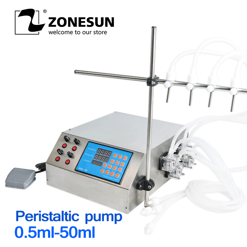ZONESUN 4 Heads Peristaltic Pump Filler Semi-auto Liquid Vial Desk-top Filling Machine For Juice Beverage Soy Sauce Oil Perfume