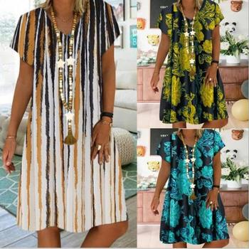 Plus size loose womens dress 2020 summer printed casual V-neck ladies