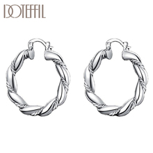 DOTEFFIL 925 Sterling Silver Twisted Rope Round Hoop Earrings Women Party Gift Fashion Charm Wedding Engagement Jewelry