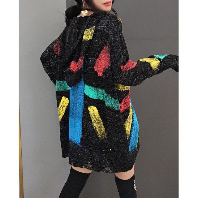 Tide brand women 2021 spring new fashion sweater women's Korean style hooded sweater star sweater mid-length fashion streetwear 3