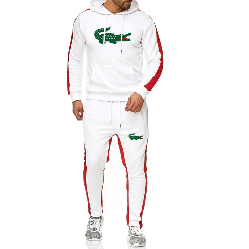 2019 Brand Crocodile Men Chandal Hombre Tracksuit Hoodie+sweatpants Thermal Jogging Homme Fleece Men Gym Clothing Thick Suit 3XL