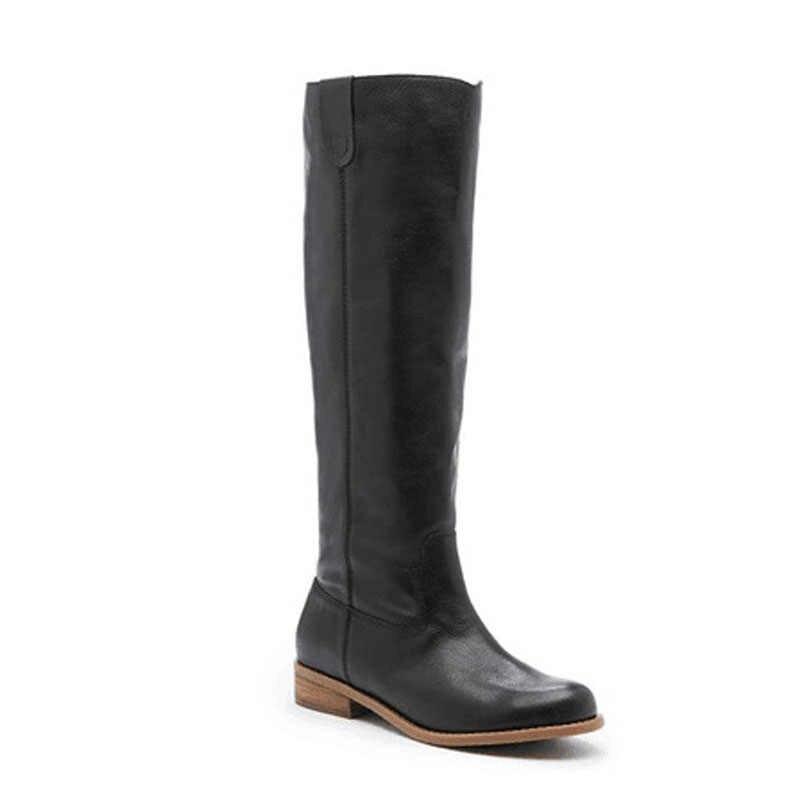 Heflashor 2019 dizler yüksek düz çizmeler kadın PU deri süet mat çizmeler üzerinde kayma Zapatos De Mujer katı sürme kış ayakkabı