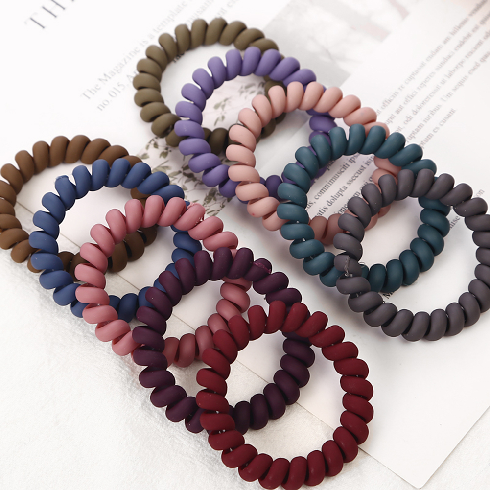1Pc Women Matt Colors Thick Big Telephone Wire Rubber Bands Stretchy Deep Colors Non-mark Spiral Coil Ropes Solid Hair Ties