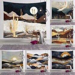 Настенный Гобелен С КАКТУСОМ, гобелен с Луной, гобелен с Горным психоделическим рисунком, гобелен с изображением пустыни, звездной ночи, гоб...
