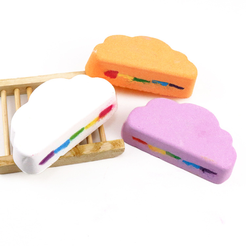 Natural Skin Care Bath Salt Rainbow Soap Ball Skin Care Exfoliating Moisturizing Handmade Bath Bomb Bubble Massage SPA