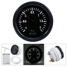 "Mechanical Turbo Boost Pressure Gauge  1 ~ +2 Bar 2"" 52mm White LED Display Black Bezel 12V Universal Boost Pointer Meter"