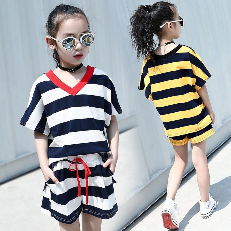 Bebê menina roupas de verão conjunto crianças listrado algodão t camisa + shorts 2 pçs agasalho crianças roupas para meninas 6 8 10 anos