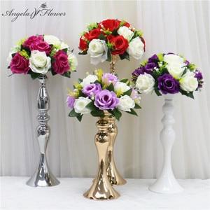 26CM Artificial Flower Ball Fabric Plastic Simulation Flower Centerpiece For Wedding Decor Road Lead Table Flower Bouquet DIY