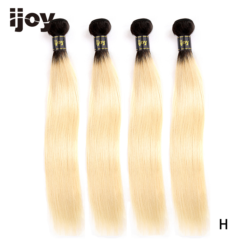 【IJOY】Straight 8'' 26'' High Ratio Brazilian Non Remy Platinum Blonde Ombre Bundles 100% Human Hair Extensions 4 Bundle Pack-in 3/4 Bundles from Hair Extensions & Wigs