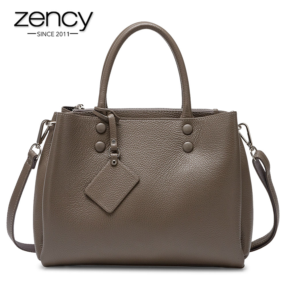 Zency Women Casual Tote Handbag 100% Genuine Leather Fashion Grey Lady Shoulder Crossbody Bag High Quality Office Bags Black
